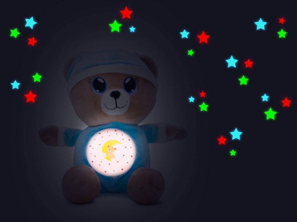 PLYŠ Medvídek usínáček 32cm modrý na baterie promítá hvězdnou oblohu Světlo Zvuk