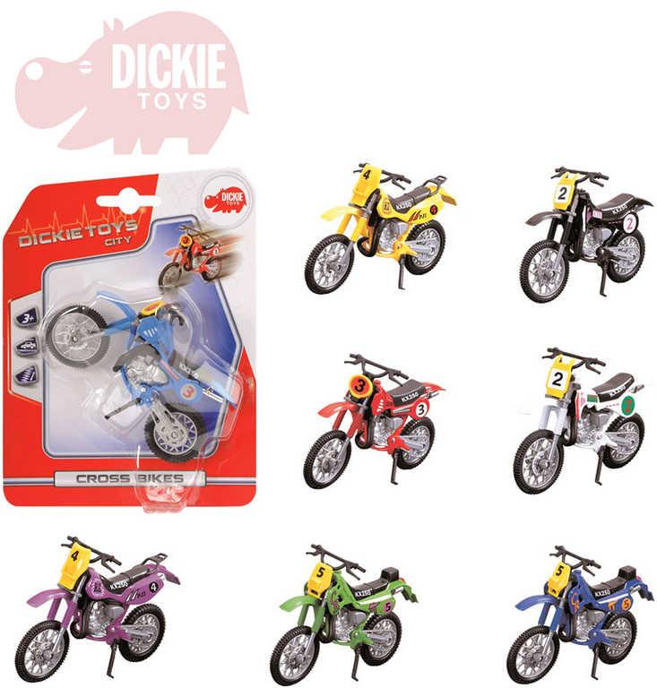 DICKIE Motocykl Crooss 12cm krosový závodní volný chod - 8 druhů