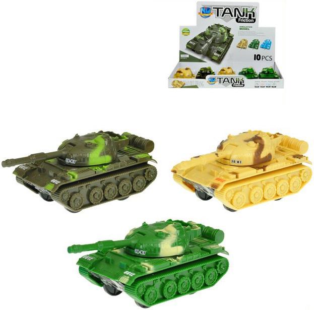 Tank vojenský 11cm na setrvačník 3 barvy plast