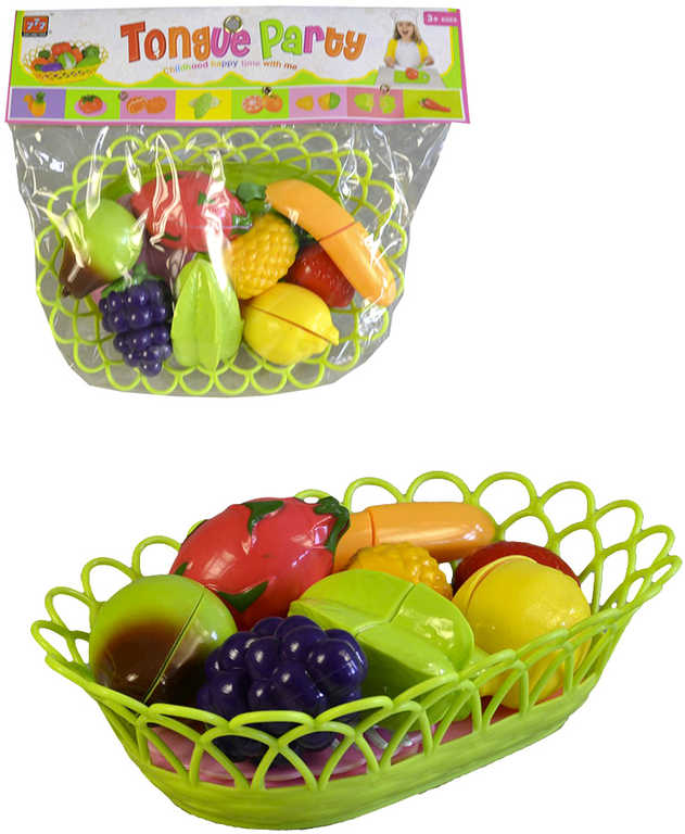 Sada krájecí na suchý zip ovoce a zelenina v košíku s talířky a příbory plast 2 barvy