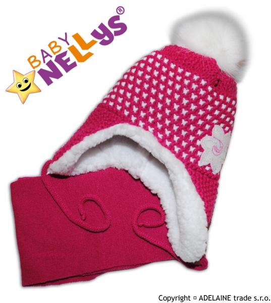 Zavazovací zimní čepička s kožíškem a šálou Lili - sytě růžová (6-24m)