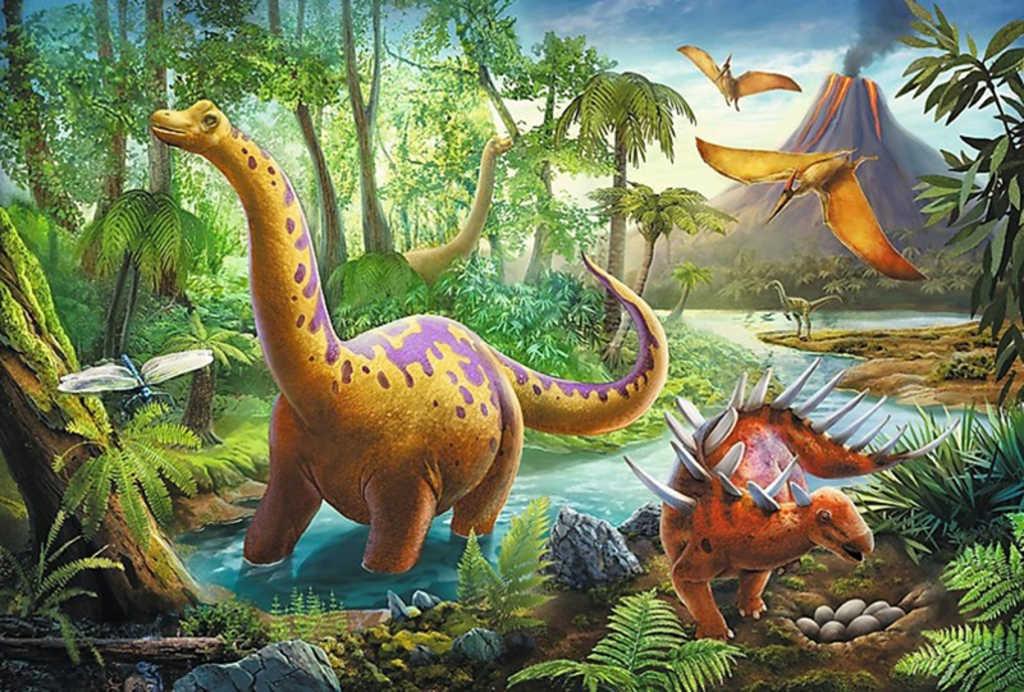 TREFL PUZZLE Dinosauři na cestách skládačka 33x22cm 60 dílků