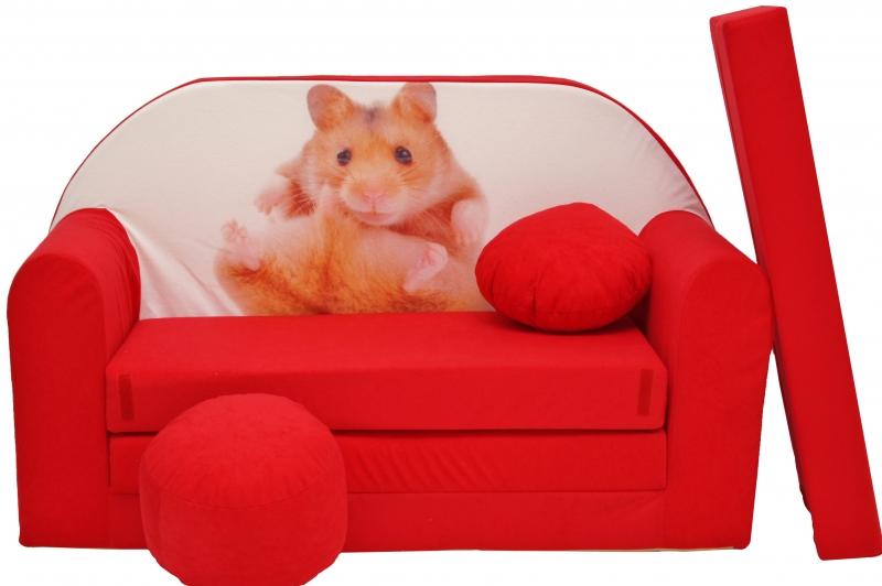 Rozkládací dětská pohovka červená - křeček