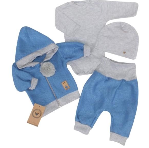 Z&Z 4-dílná pletená soupravička, kabátek, tepláčky, čepička a body