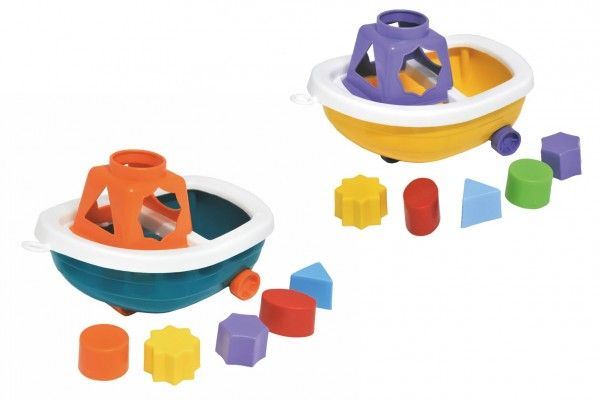 Loď/Člun na kolečkách + vkládačka plast 13 x 20 cm 12 m+