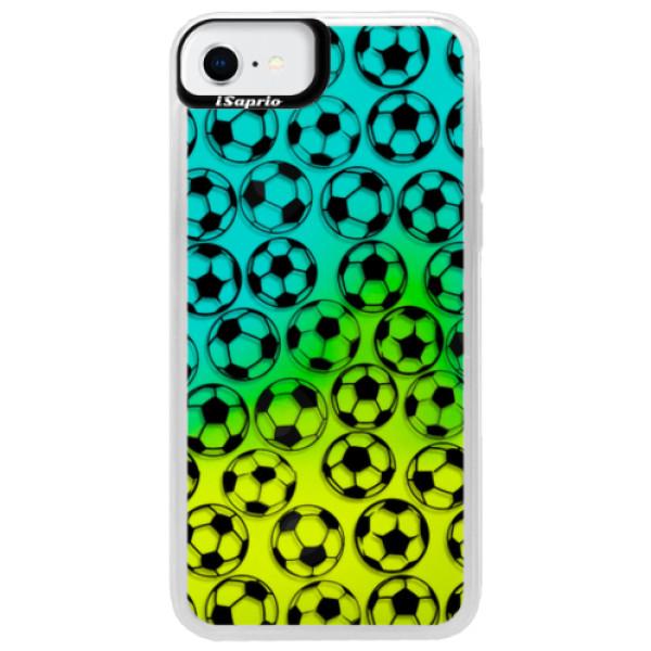 Neonové pouzdro Blue iSaprio - Football pattern - black - iPhone SE 2020