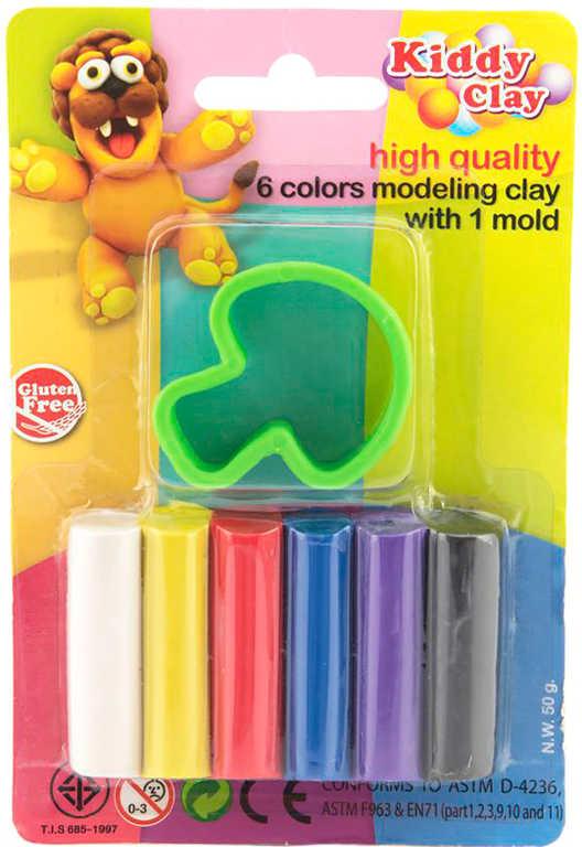 Modelína Nara 50g set 6 barev hmota modelovací s vykrajovátkem různé druhy