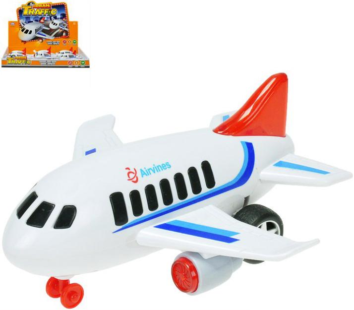 Letadlo osobní bílé 18cm na setrvačník na baterie Světlo Zvuk plast