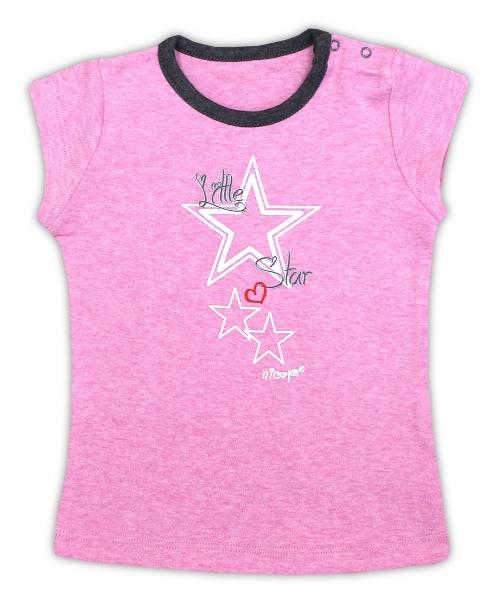 Bavlněné tričko NICOL SUPERSTAR - krátký rukáv - melír růžová