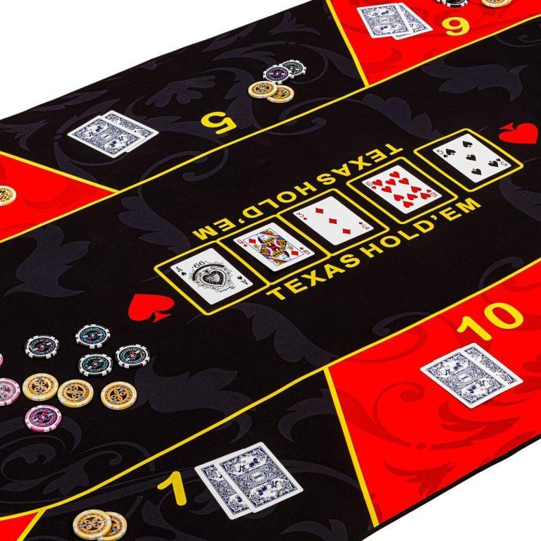 Skládací pokerová podložka, červená/černá, 200 x 90 cm