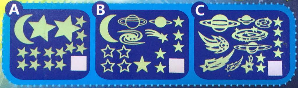 Hvězdičky dekorace na stěnu noční obloha svítí ve tmě 24ks 3 druhy