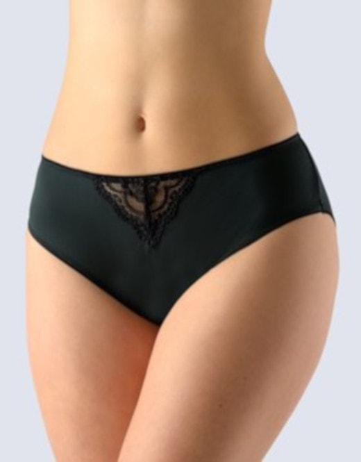 GINA dámské kalhotky klasické, širší bok, šité, s krajkou, La Femme 2 10171P - černá