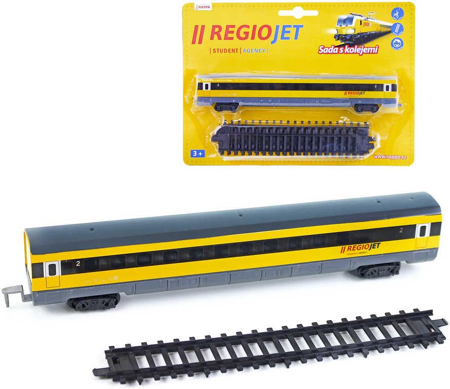 RegioJet sada vlaková vagón + koleje 4ks rozšíření k vláčkodráze plast