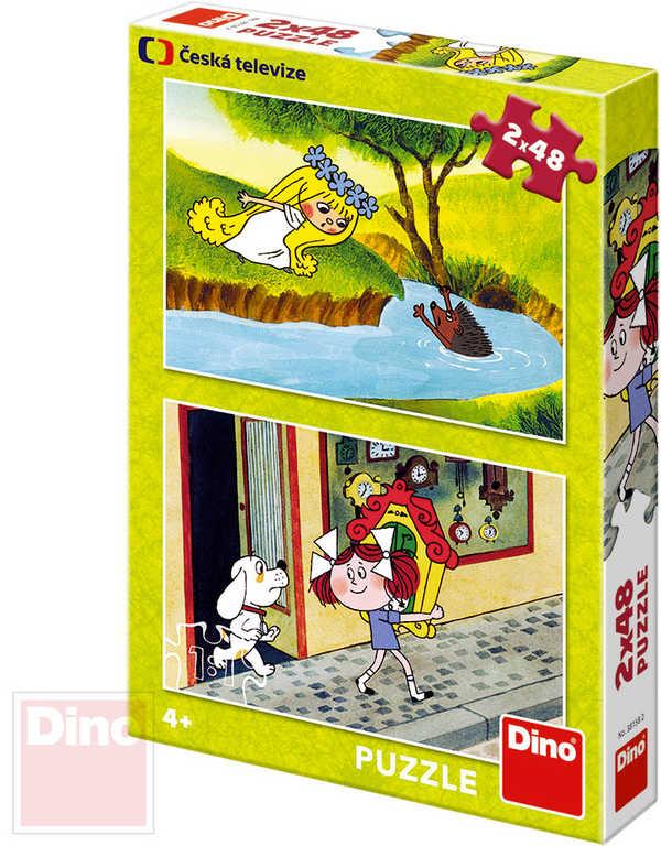 DINO Puzzle 2x48 dílků Holky z pohádky 26,5x18cm skládačka 2v1