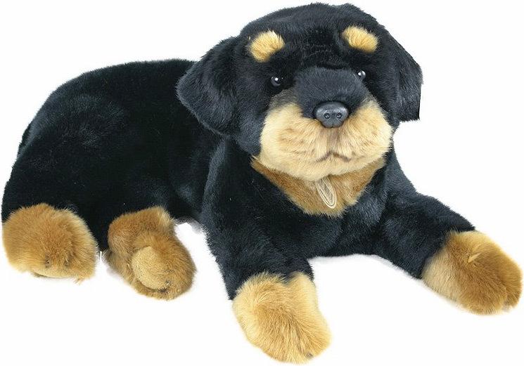 PLYŠ Pes Rottweiler ležící 38cm *PLYŠOVÉ HRAČKY*