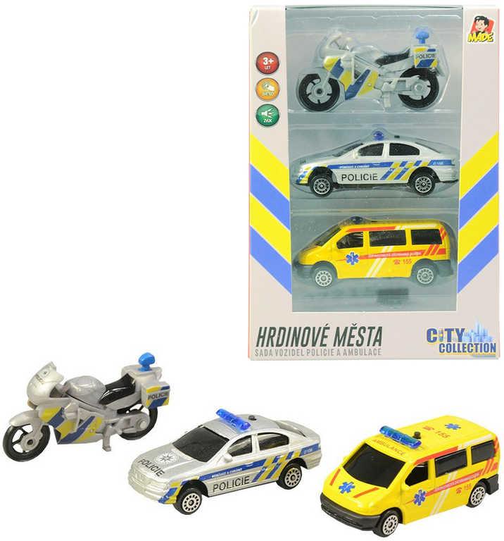 Záchranné složky set auto 2ks s motocyklem český design na baterie Světlo Zvuk