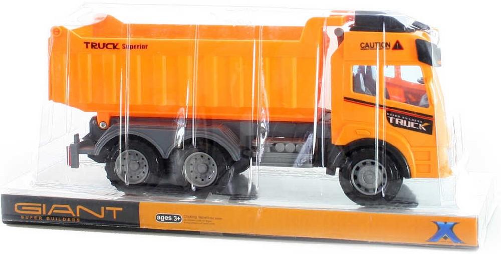 Auto nákladní 29cm sklápěčka oranžová na setrvačník plast