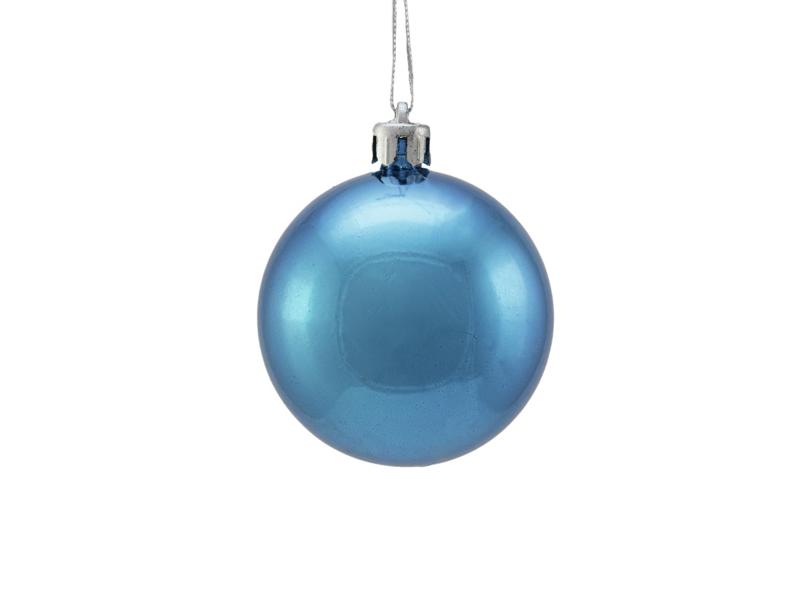 Vánoční dekorační ozdoby, 6 cm, modrá metalíza, 6 ks