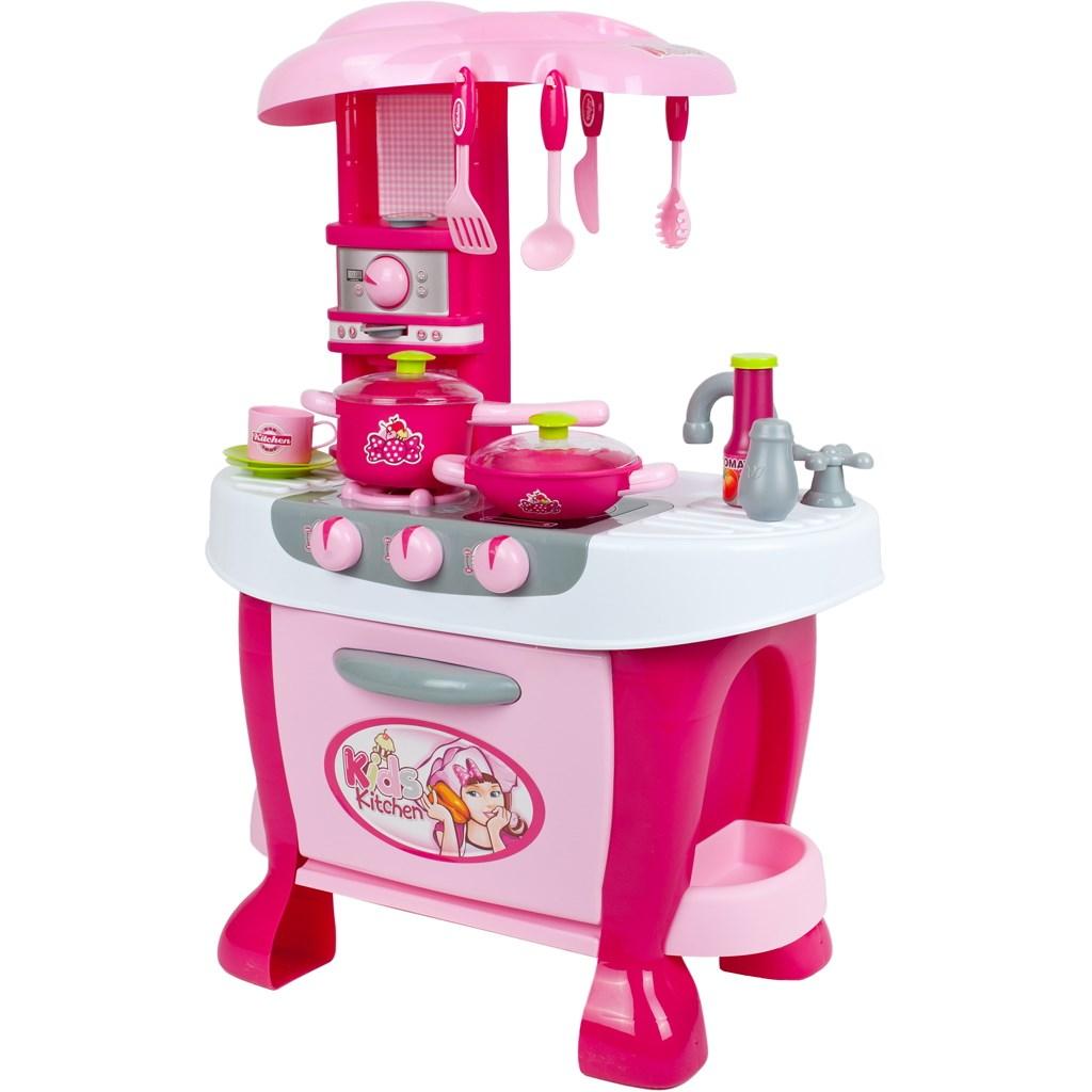 Velká dětská kuchyňka s dotykovým sensorem Bayo + příslušenství - růžová