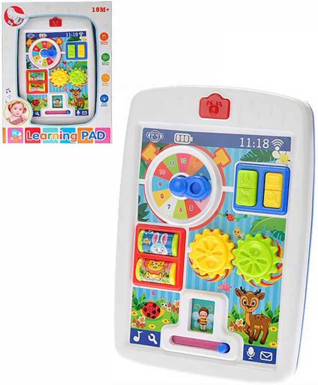 Baby I-pad naučný s aktivitami 13x18cm na baterie Světlo Zvuk pro miminko