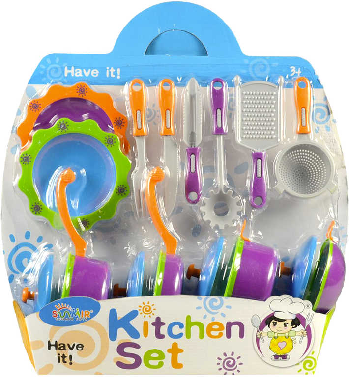 Souprava dětská kuchyňská set nádobí s nástroji a doplňky plast