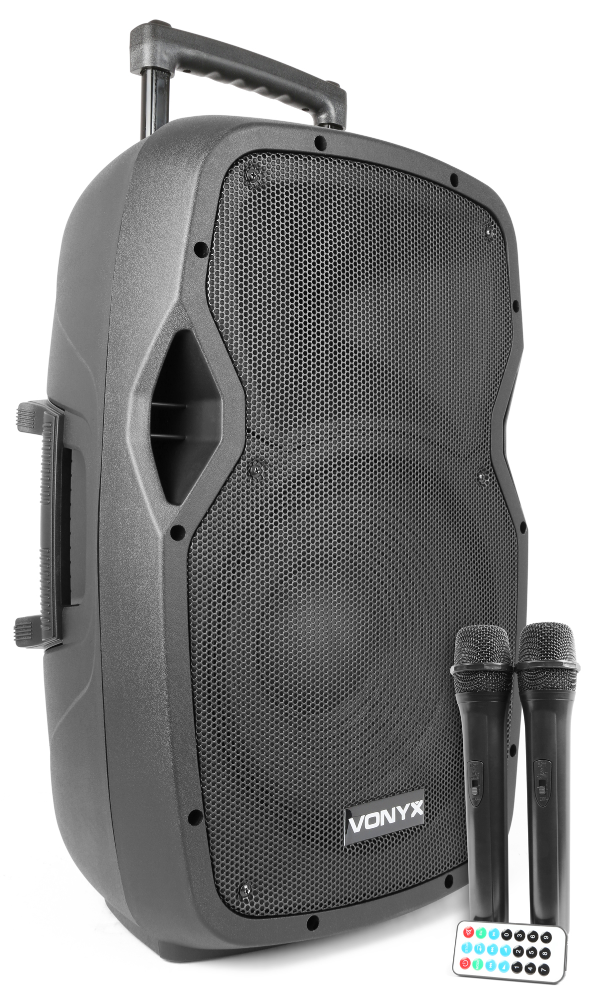 """Vonyx AP1200PA Portable Speaker 12"""" 2UHF MP3 BT"""