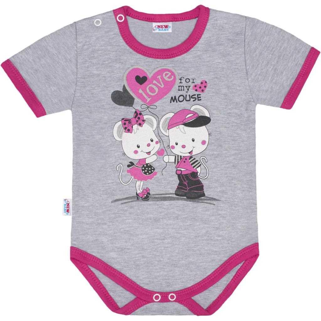Dětské body s krátkým rukávem New Baby Love Mouse - růžová/80 (9-12m)