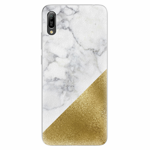 Silikonové pouzdro iSaprio - Gold and WH Marble - Huawei Y6 2019