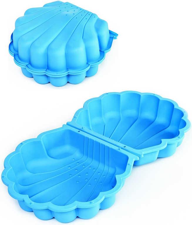 Pískoviště baby bazének mušle 87x78cm s víkem 2v1 modré plast