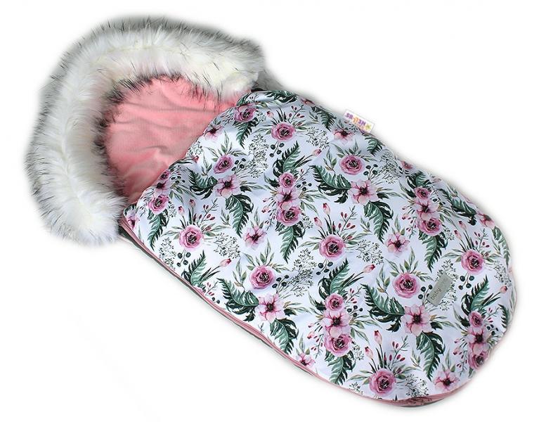 Baby Nellys Fusák, spacáček 105x55 Velvet Winter Lux - Flowers