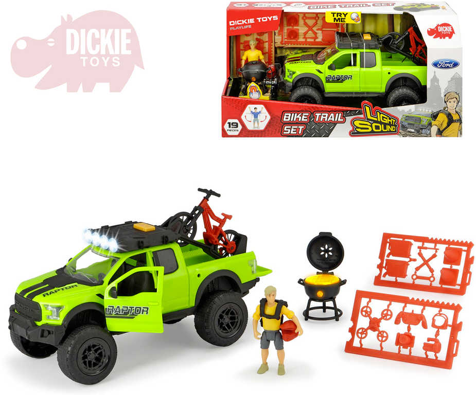 DICKIE Auto jeep Ford Raptor set s kolem s figurkou a doplňky na baterie Světlo Zvuk