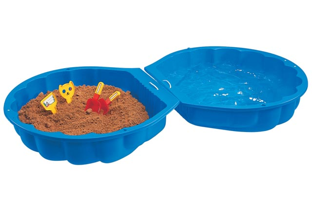 Pískoviště přenosné bazének modrá mušle s víkem 180x87x20 cm uzavíratelné plast
