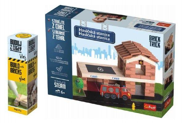 Pack Stavějte z cihel Hasičská stanice stavebnice Brick Trick + lepidlo grátis v krabici 3