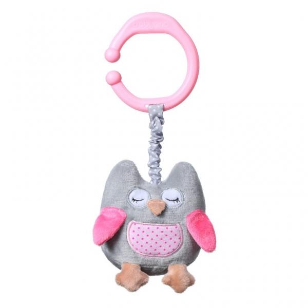 BabyOno Závěsná hračka s vibrací Owl Sophia - růžová
