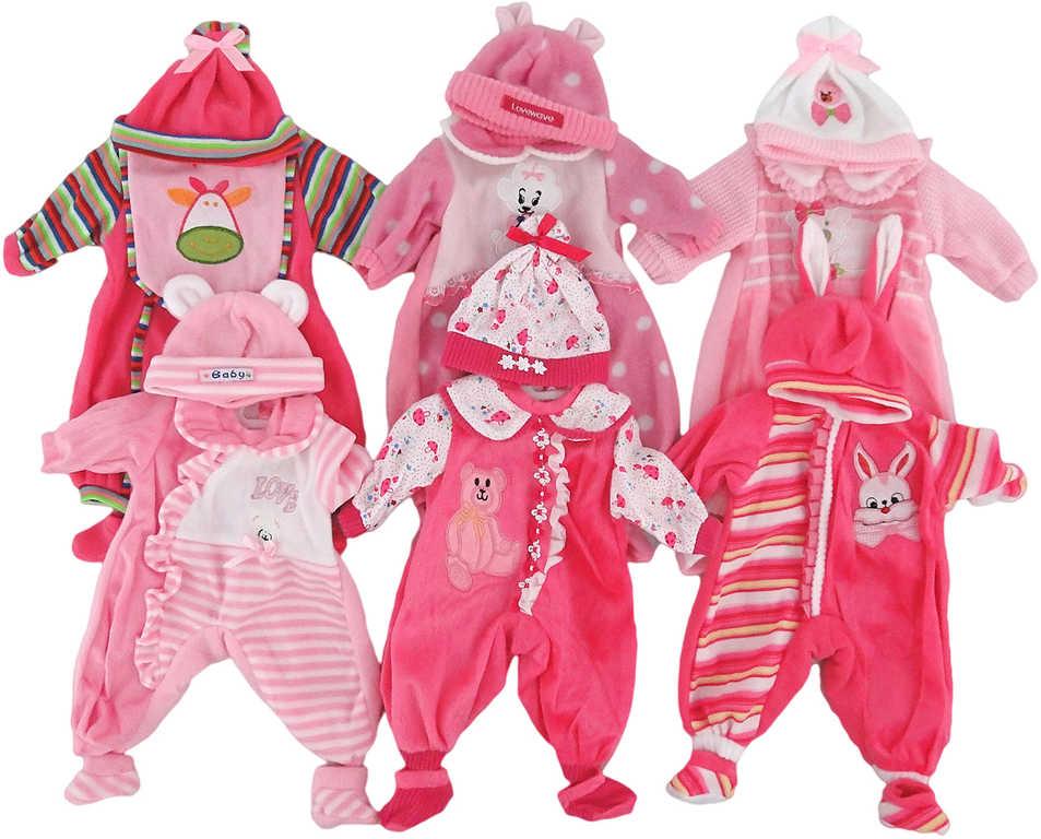 Oblečení pro panenku dupačky s čepičkou set s ramínkem pro panenku - 6 druhů