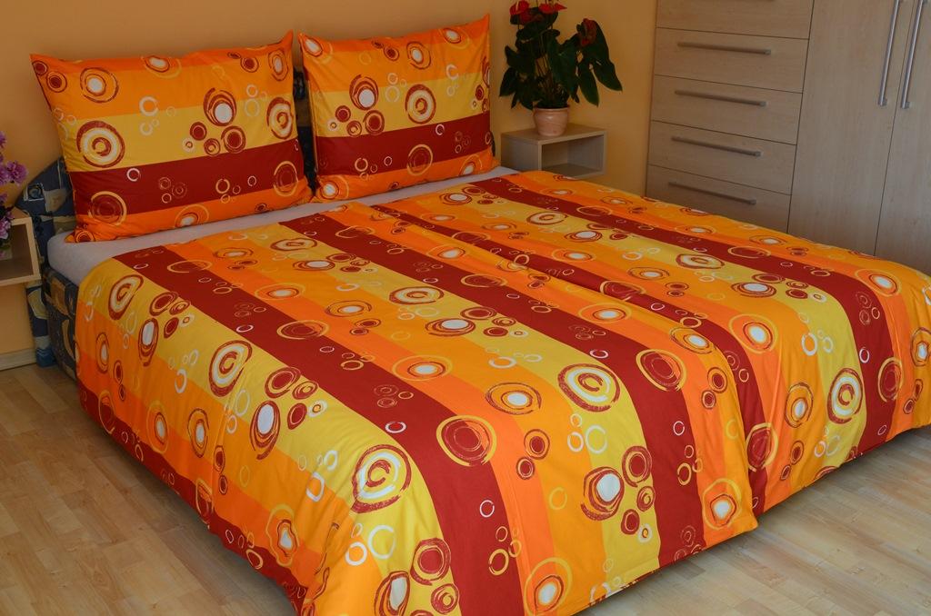 Prodloužené povlečení bavlna 140x220, 70x90cm Kola oranžová Skladem 7ks, Výběr zapínání: