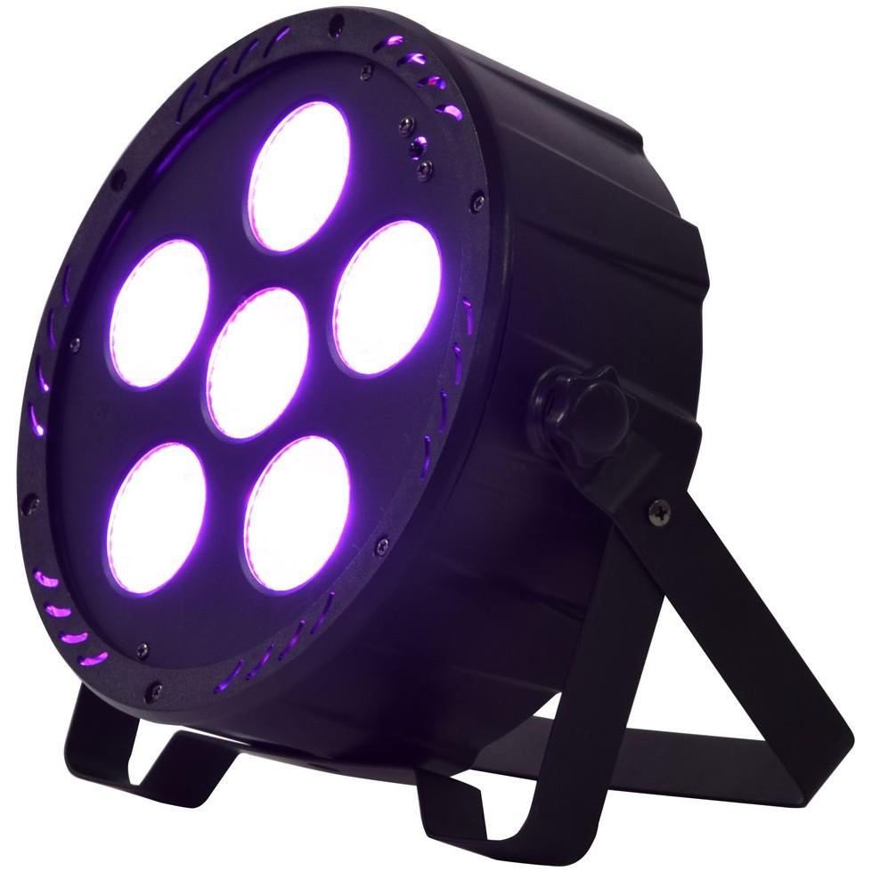 QTX PAR-180+UV Výkonný PAR reflektor, 6x 30W RGB+UV COB, DMX
