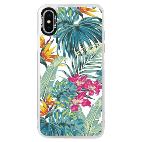 Neonové pouzdro Pink iSaprio - Tropical White 03 - iPhone X