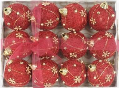 Červené vánoční koule po 12 ks