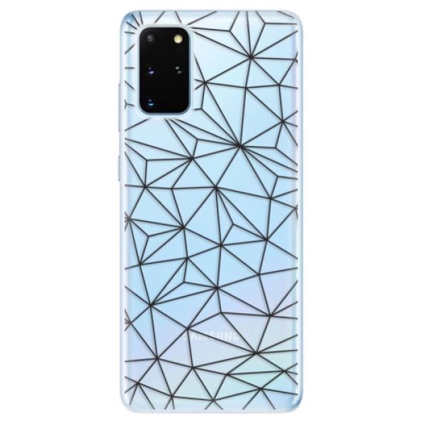 Odolné silikonové pouzdro iSaprio - Abstract Triangles 03 - black - Samsung Galaxy S20+