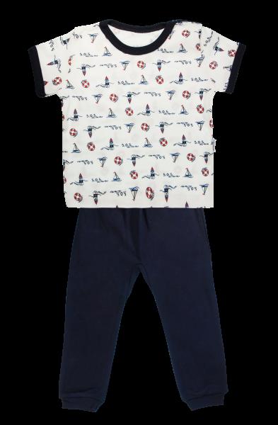 Bavlněné pyžamko Mamatti Maják - krátký rukáv - granátové, vel.