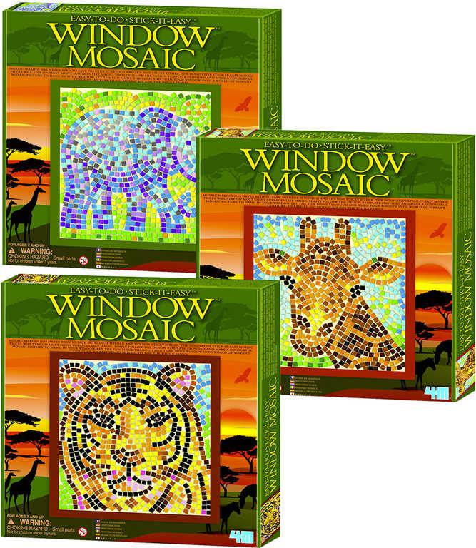 MAC TOYS Mozaika okenní safari 26x26cm zvířátka 3 druhy v krabici