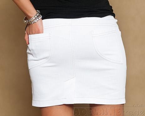 Be MaaMaa Těhotenské džínsová sukně JOANA - bílá