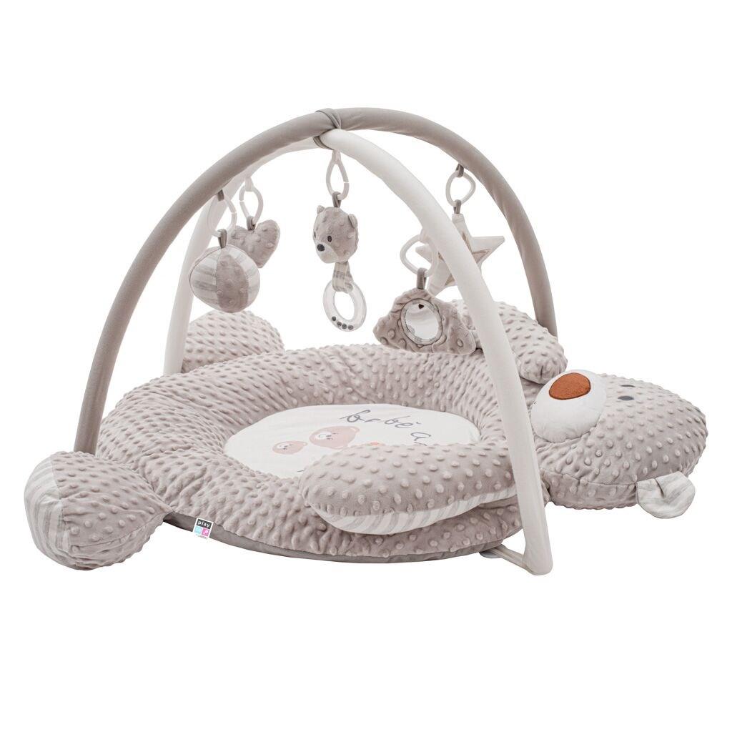 Luxusní hrací deka z minky s melodií PlayTo medvídek - šedá