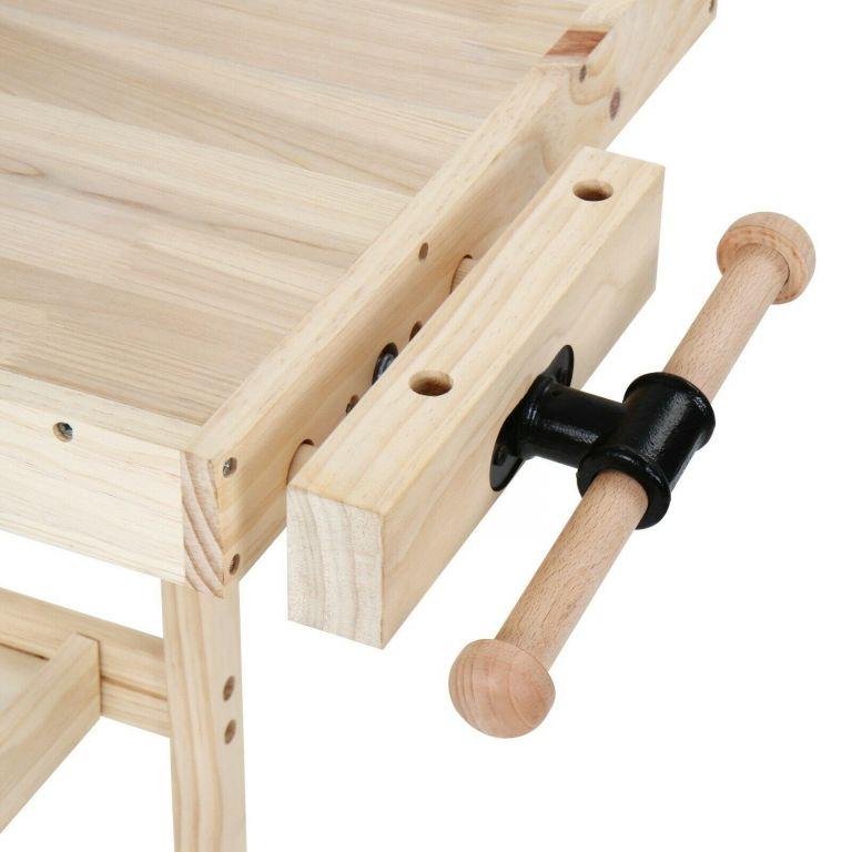 Dřevěný upínací ponk se svěráky, truhlářská hoblice