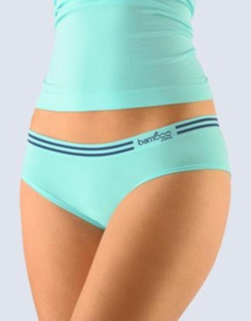 GINA dámské kalhotky francouzské, bezešvé, bokové Bamboo 04021P - peprmint tm.popel