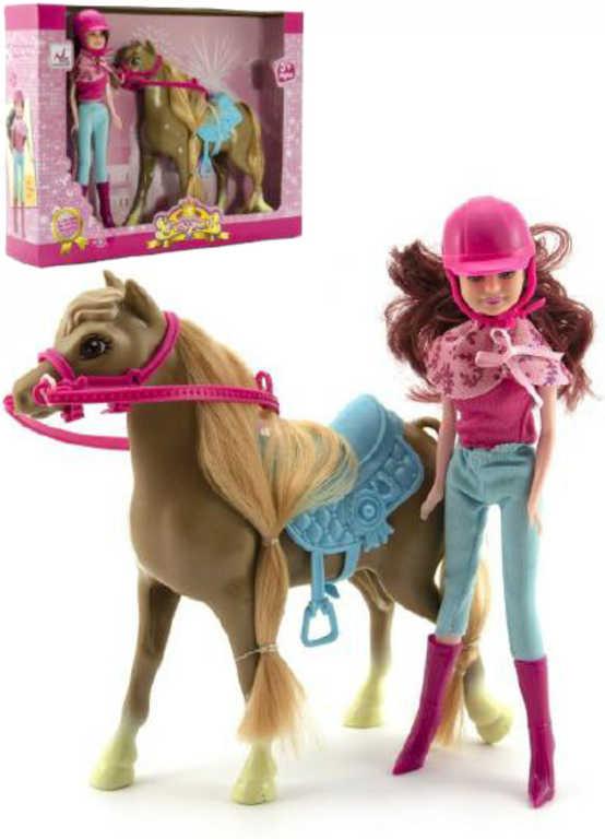 Panenka žokejka jezdecký set s osedlaným koněm v krabici