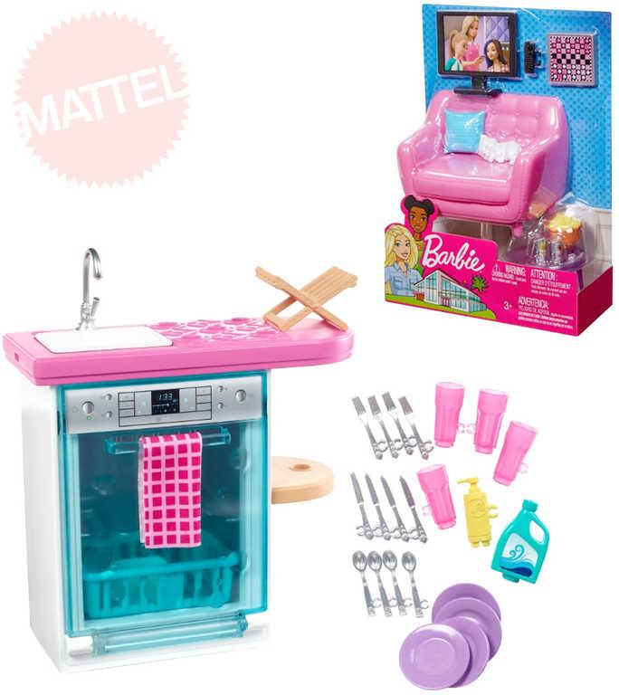 MATTEL BRB Nábytek set s doplňky pro panenku Barbie různé druhy