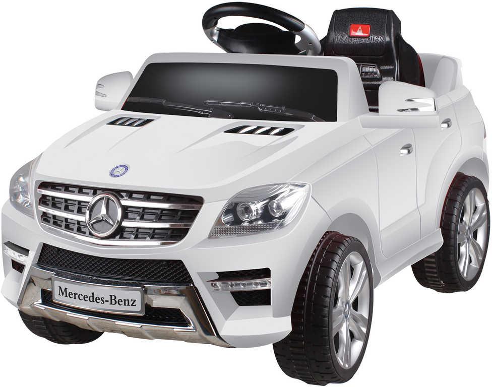 RC Auto bílý Mercedes ML350 6V na vysílačku mp3 dětské ELEKTRICKÉ VOZIDLO
