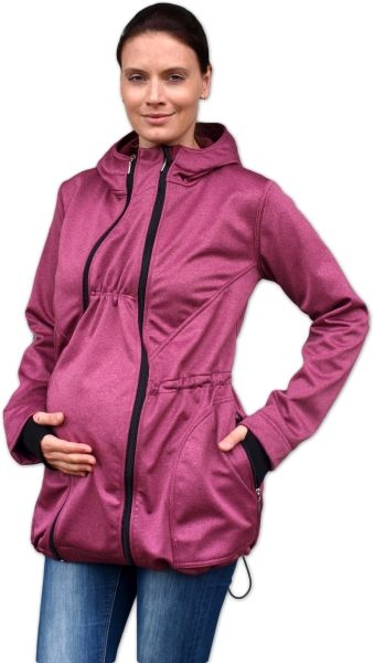 JOŽÁNEK Bunda pro nosící, těhotné - softshellová (přední nošení), vínový melír, vel. L/XL - L/XL